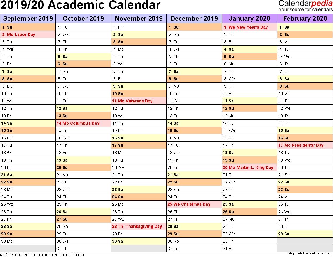 Academic Calendars 2019/2020 - Free Printable Excel Templates