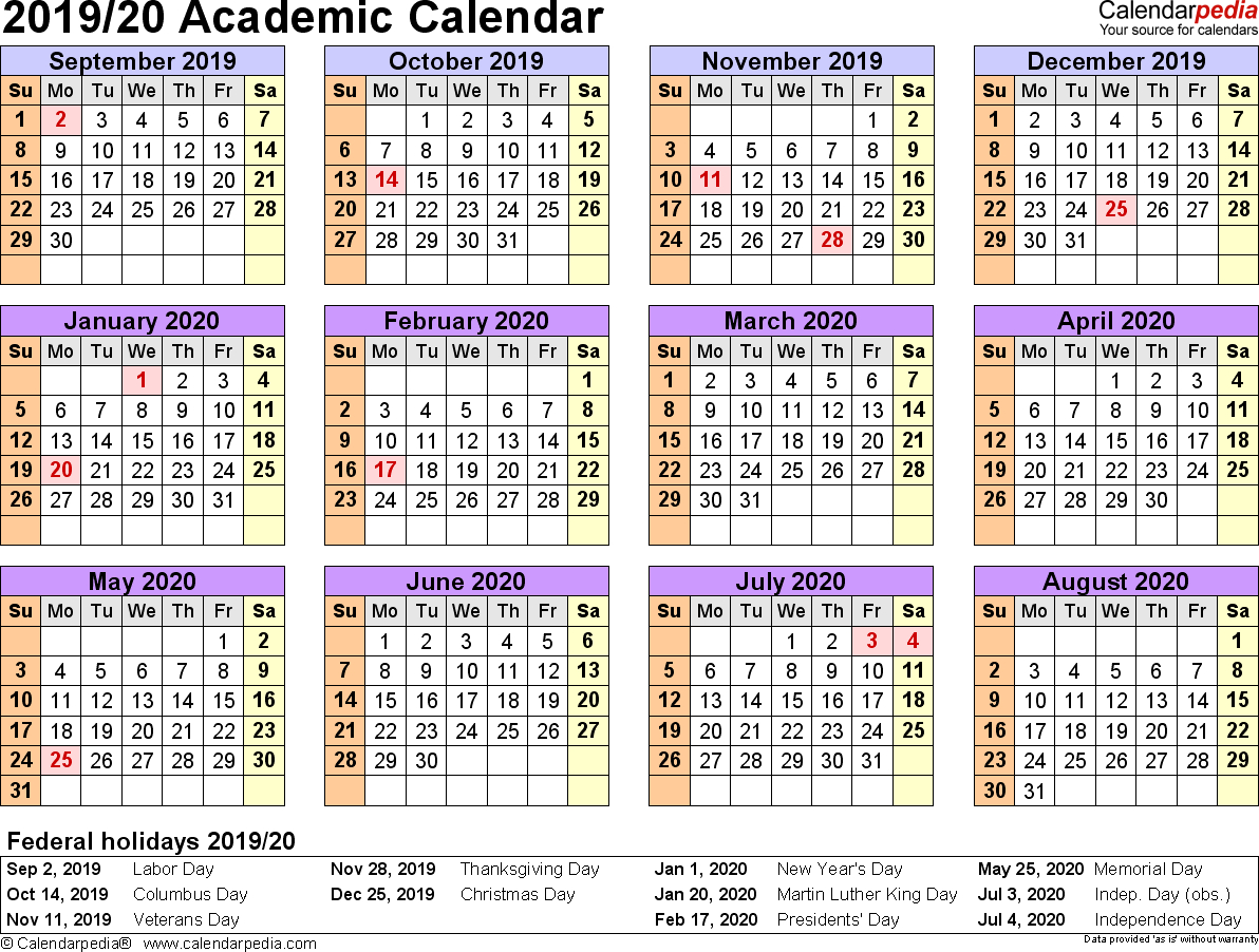Academic Calendars 2019/2020 - Free Printable Pdf Templates