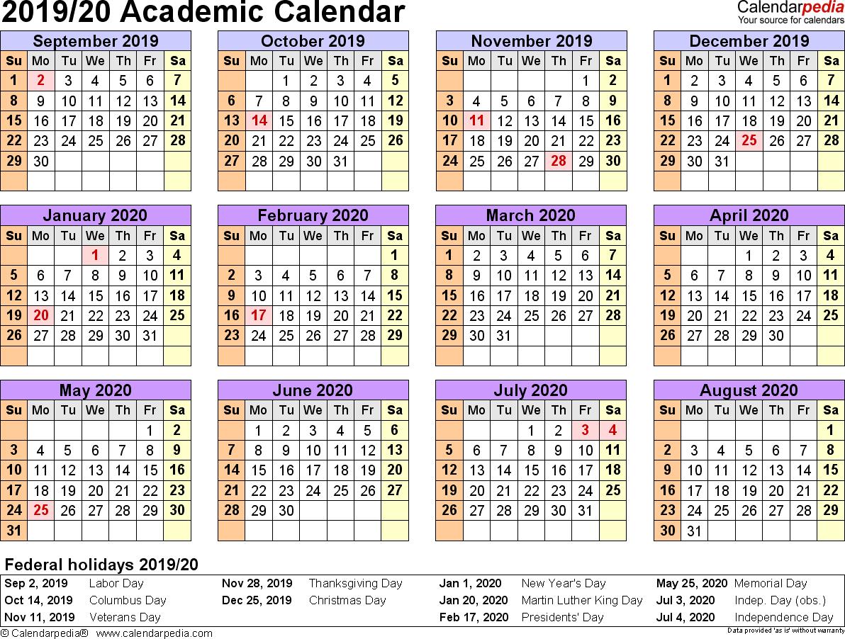 Academic Calendars 2019/2020 - Free Printable Word Templates