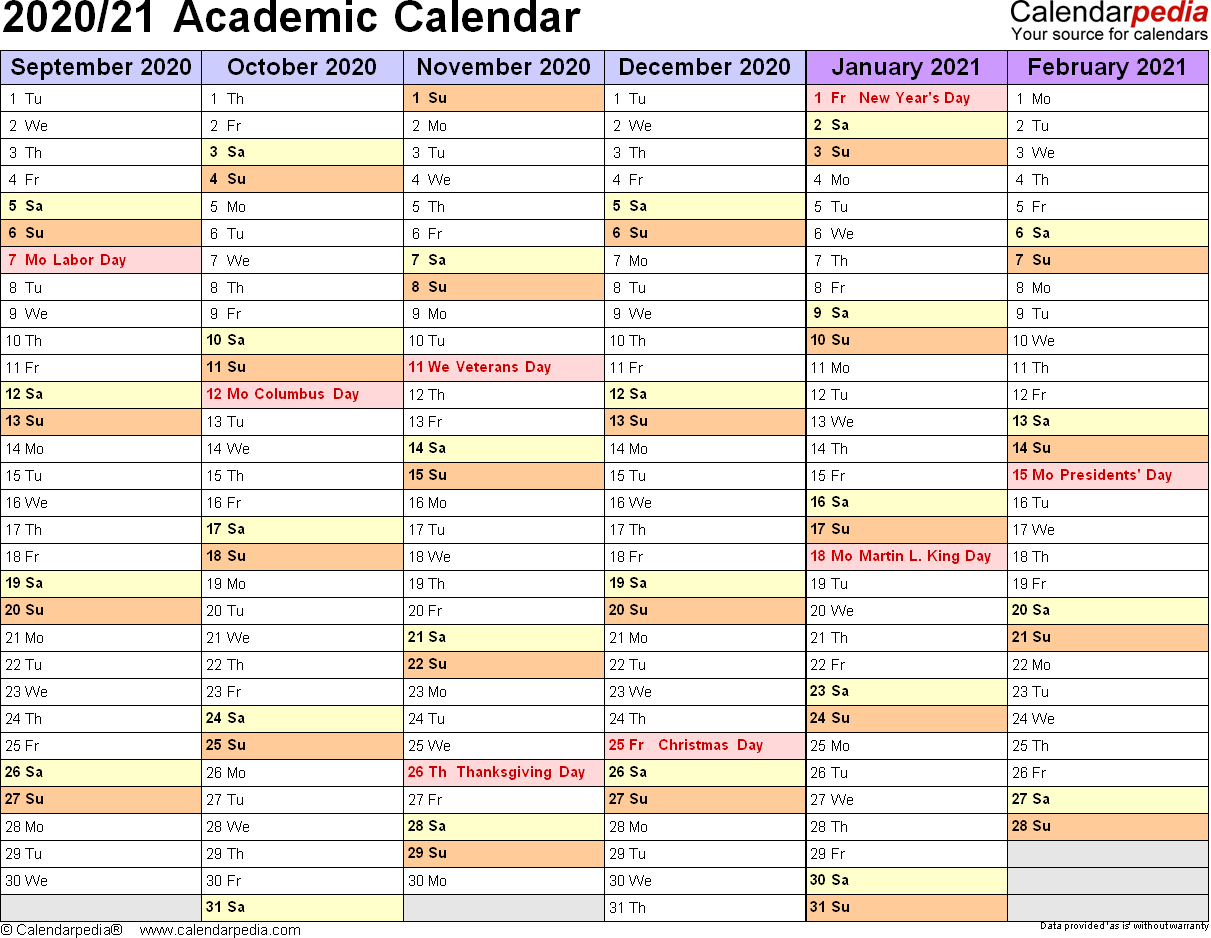 Academic Calendars 2020/2021 - Free Printable Pdf Templates