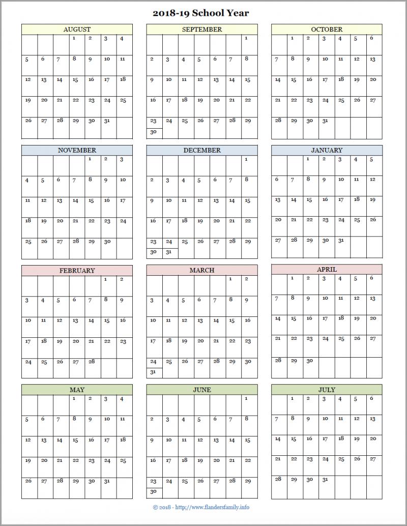 Academic Calendars For 2018-19 School Year (Free Printable