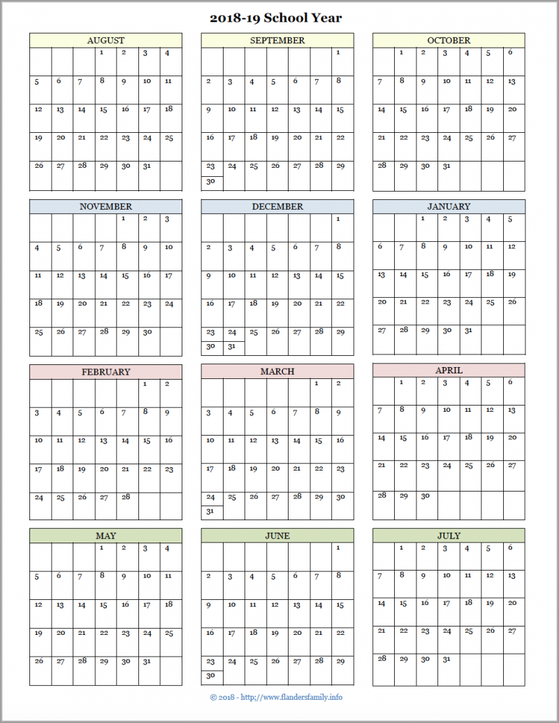 Academic Calendars For 2018-19 School Year (Free Printable