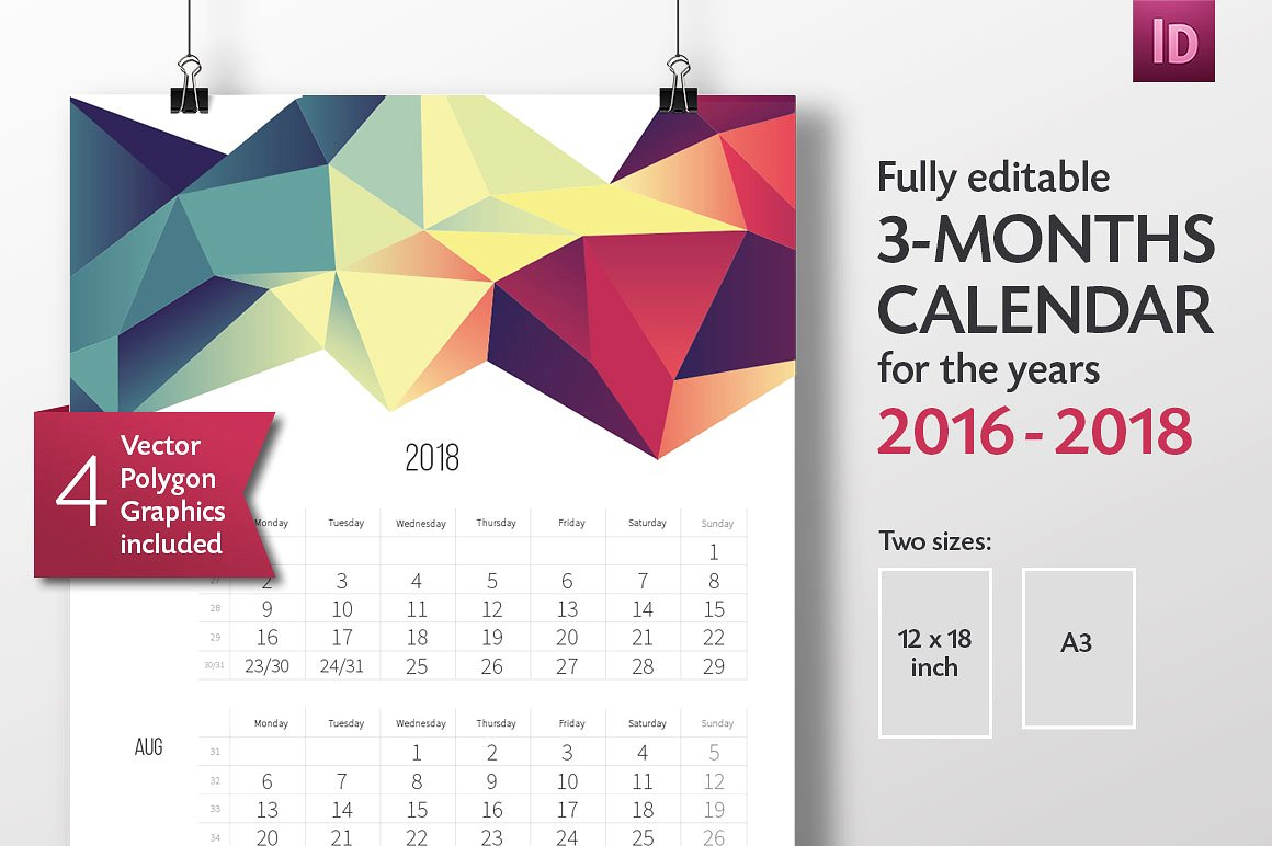 Adobe Indesign 2018 Calendar Template | Calendar Template 2019