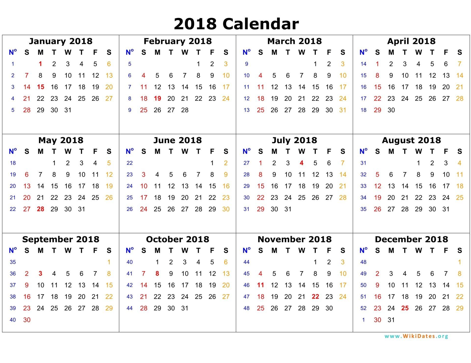 Annual Calendar 2018 Portrait Printable Calendar 2017 2018