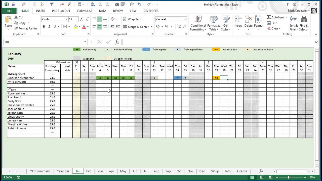 Any Year Holiday, Training & Absence Planner For Excel