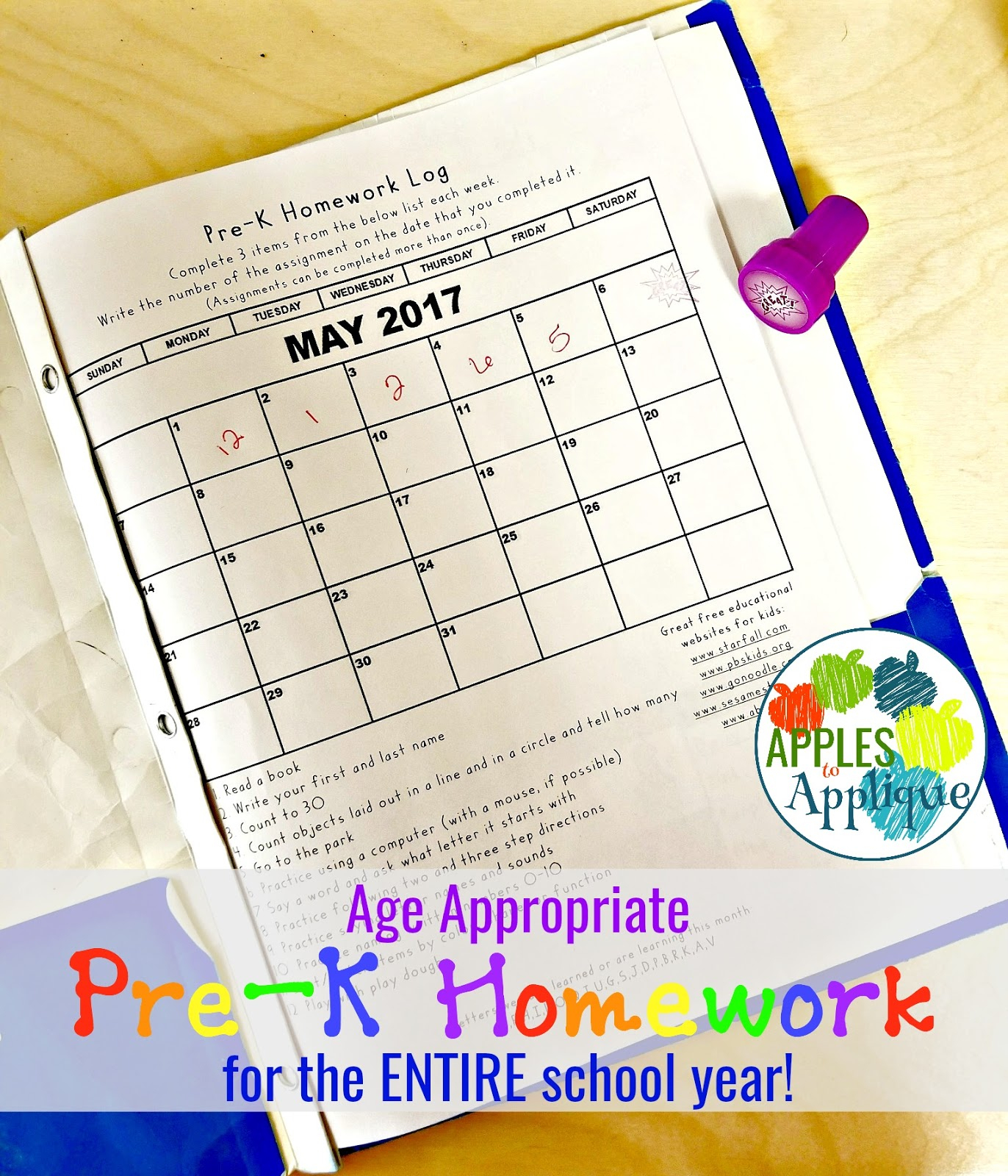 Apples To Applique: Age Appropriate Pre-K Homework