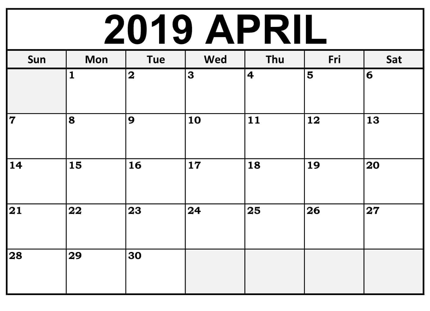 April 2019 Calendar Printable Free Download - Free Printable