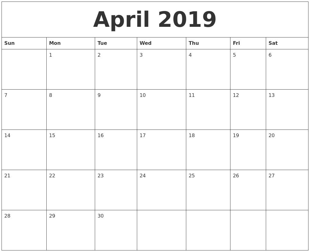 April 2019 Print Out Calendar