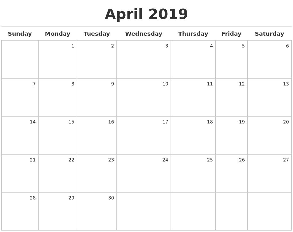 April 2019 Printable Calendar Blank Templates Holidays