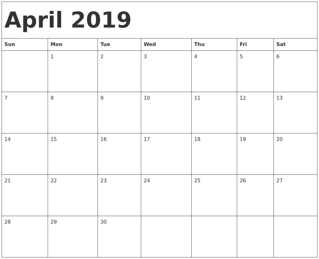 April 2019 Printable Calendar Free Templates - Printable