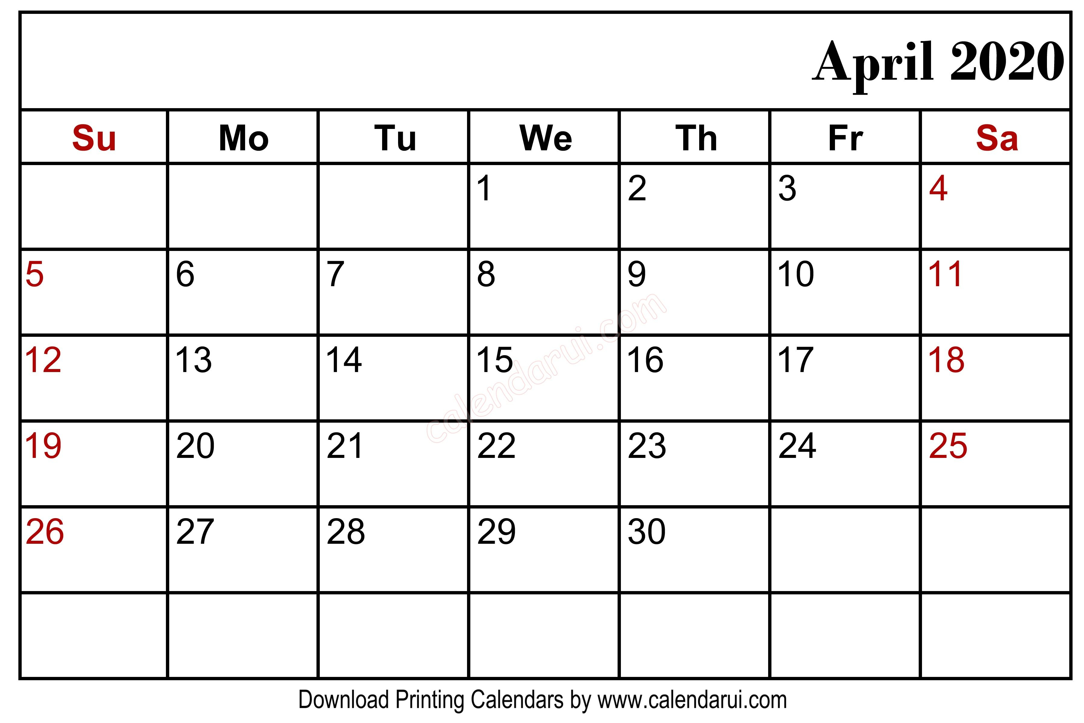 April 2020 Blank Calendar Printable Right Header | Monthly