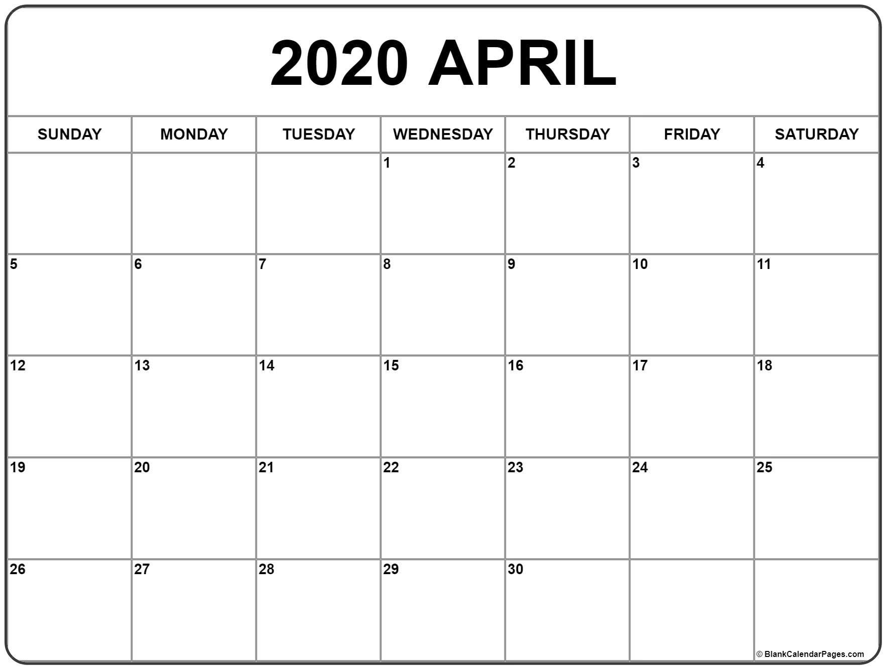 April 2020 Calendar   Free Printable Monthly Calendars