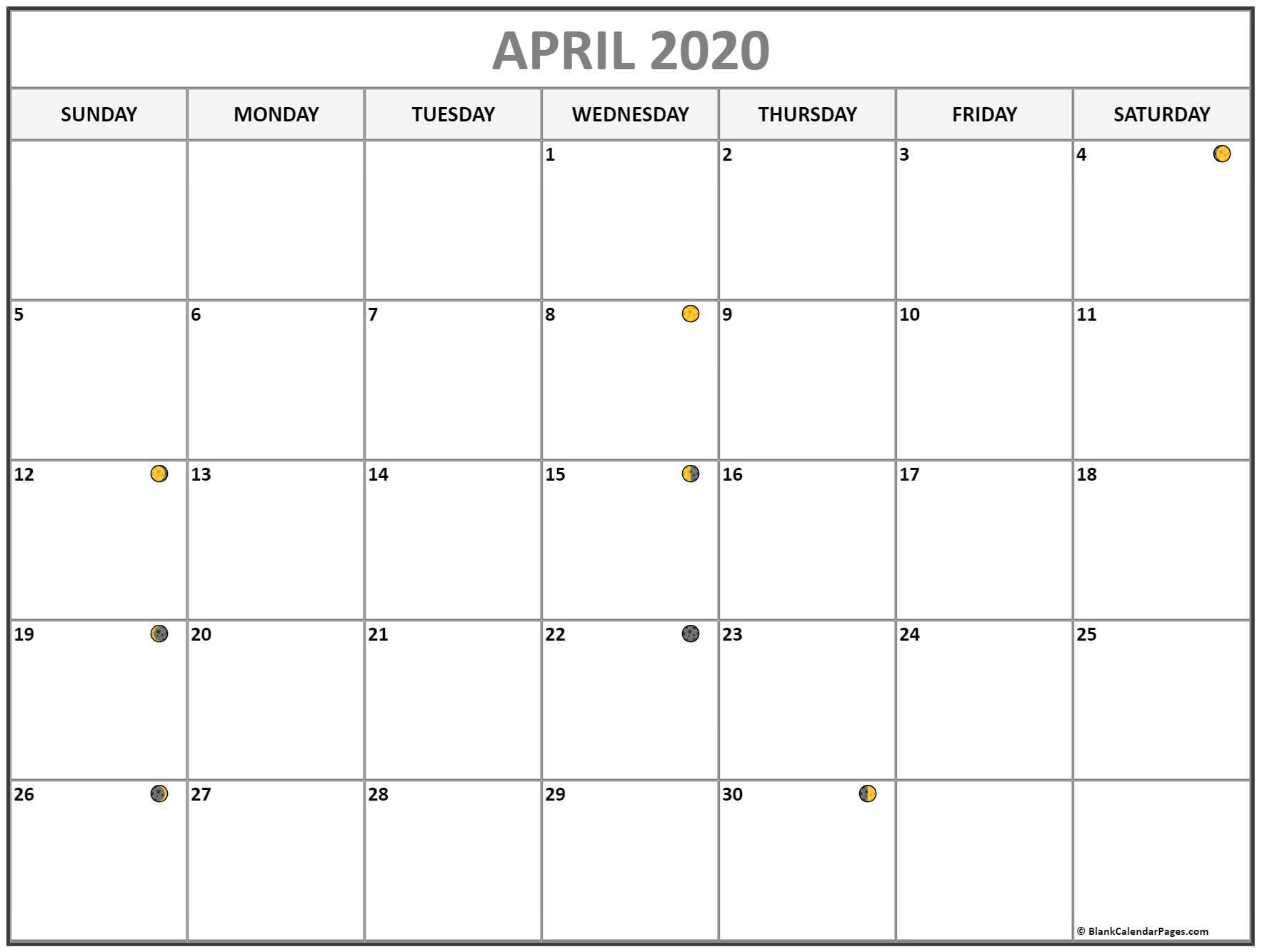April 2020 Lunar Calendar | Moon Phase Calendar