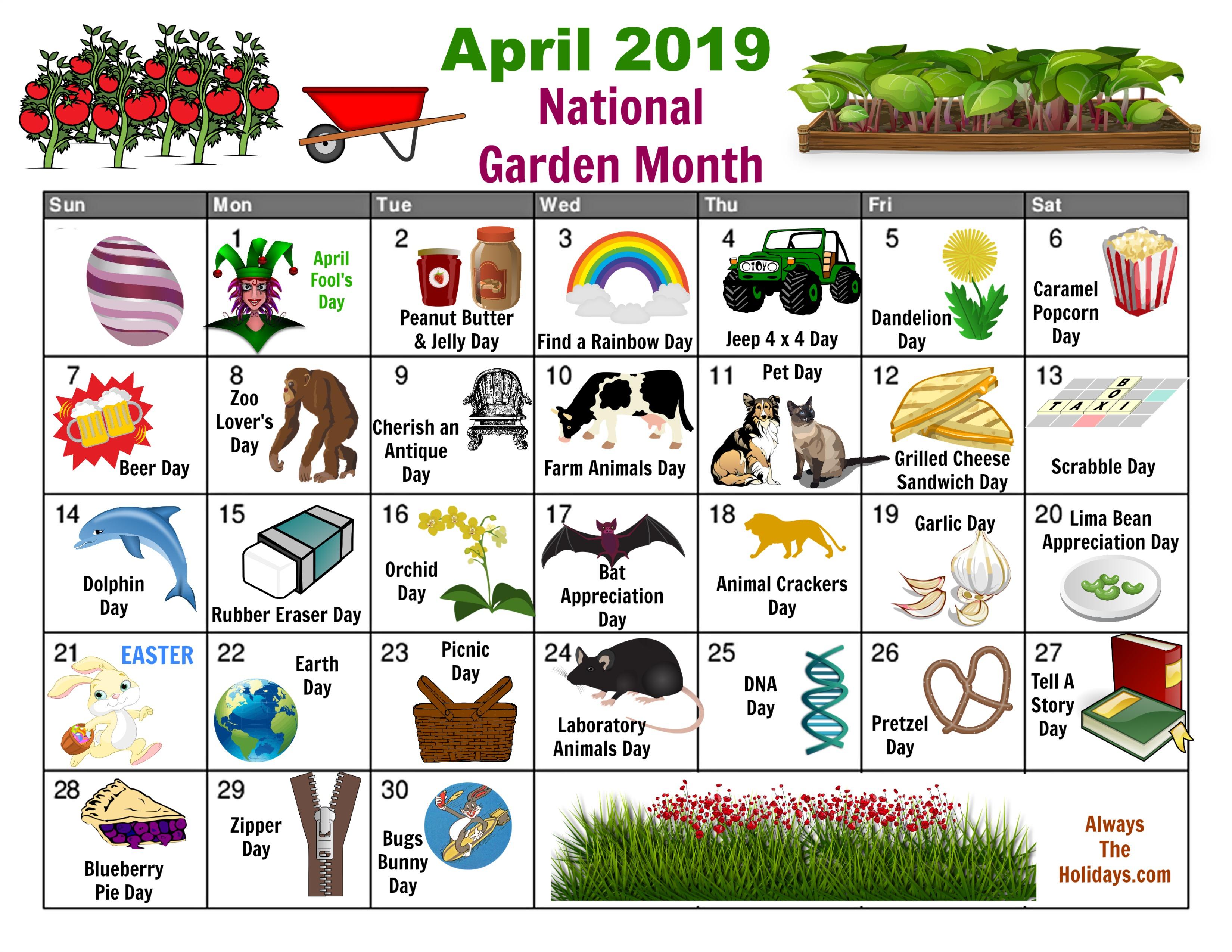 April National Day Calendar - Free Printable