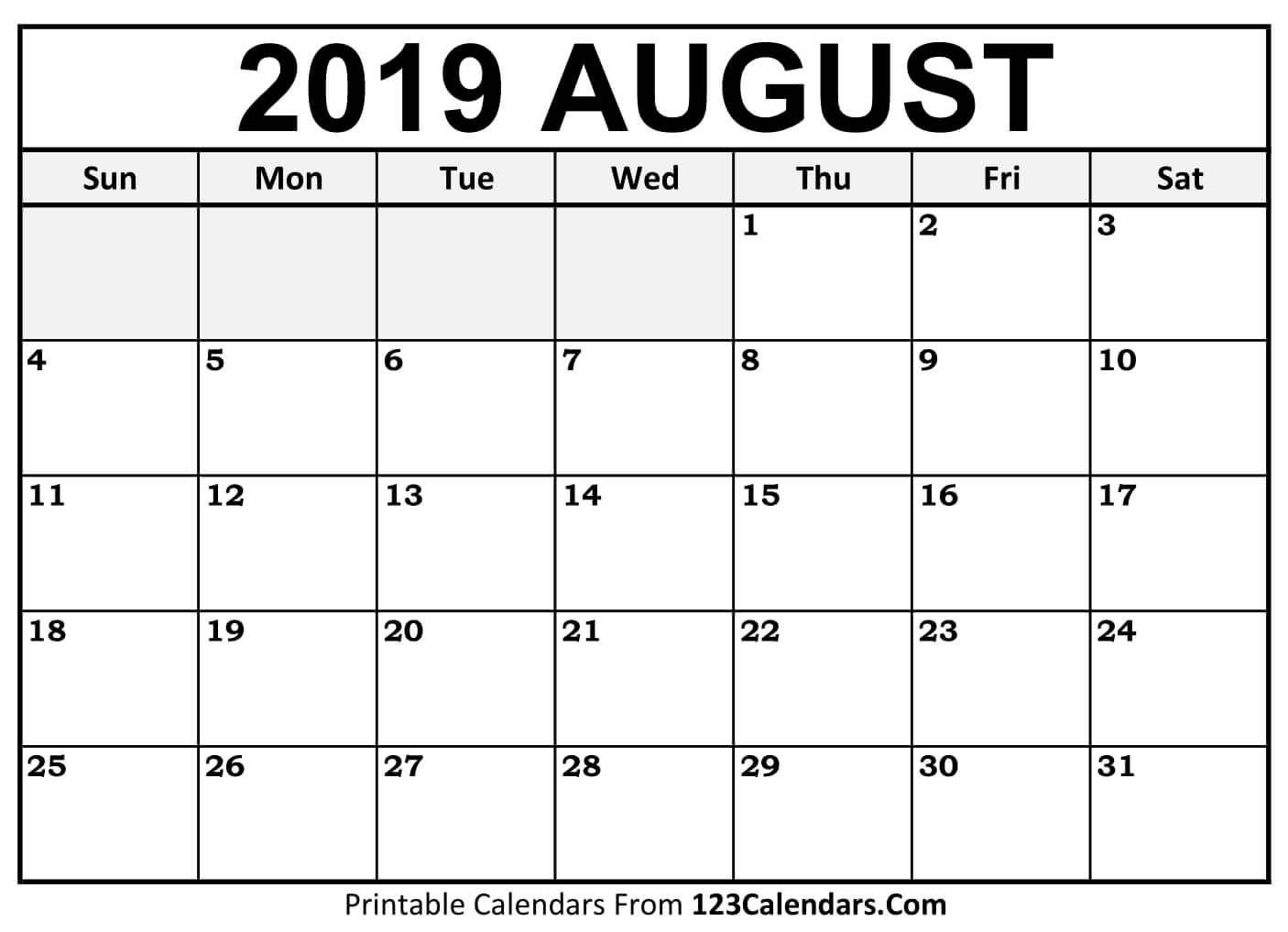 Aug 2019 Calendar | Isacl