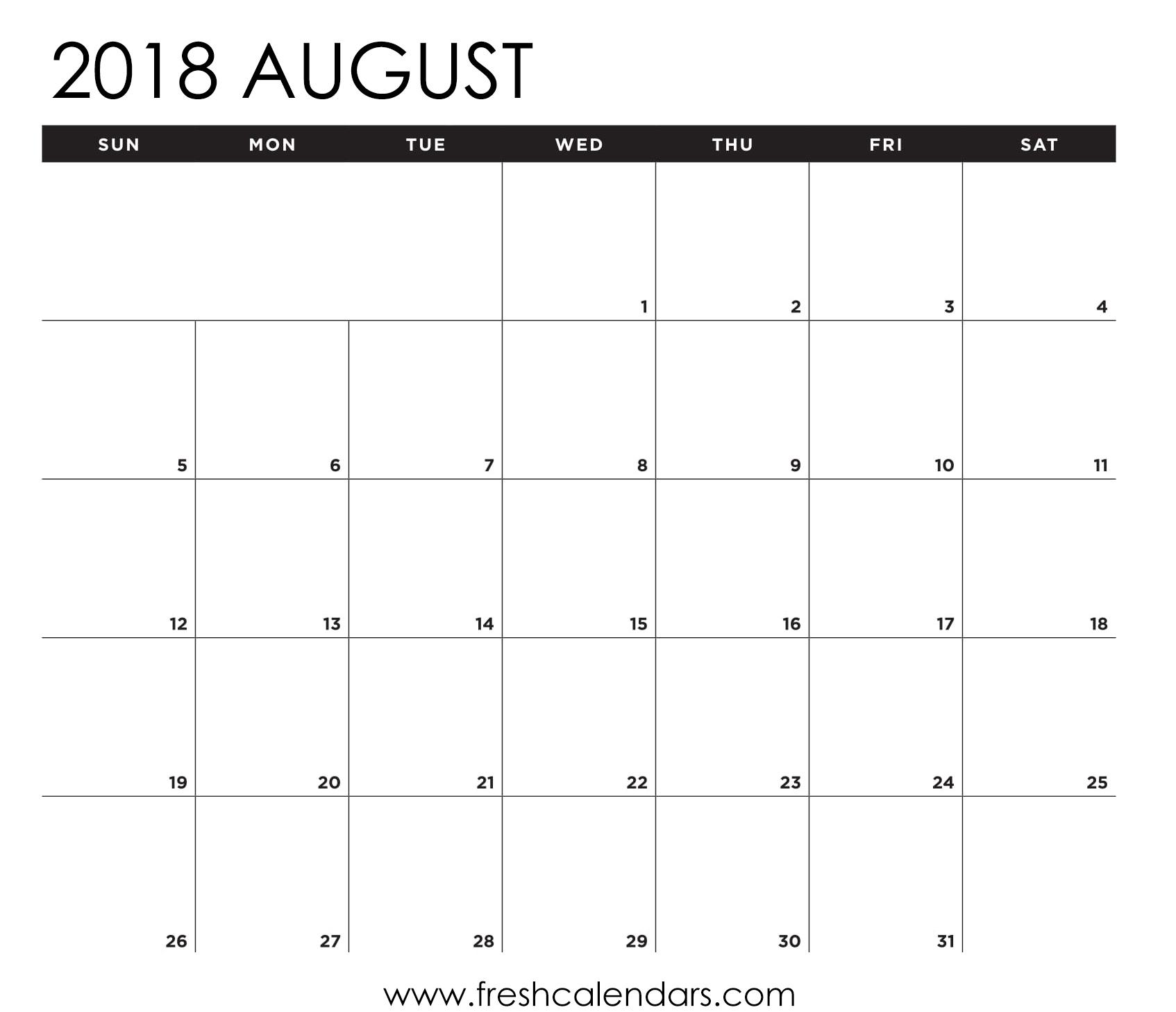 August 2018 Calendar Printable - Fresh Calendars