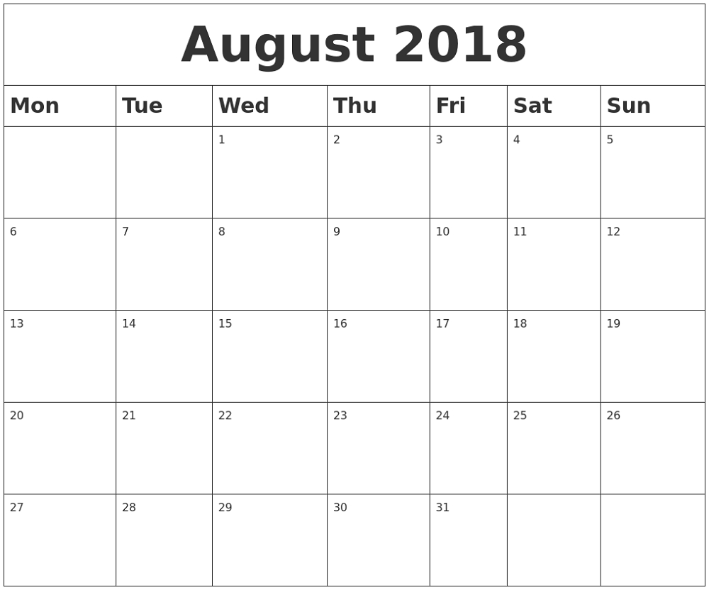 August 2018 Monthly Calendar Desk | Printable | Blank