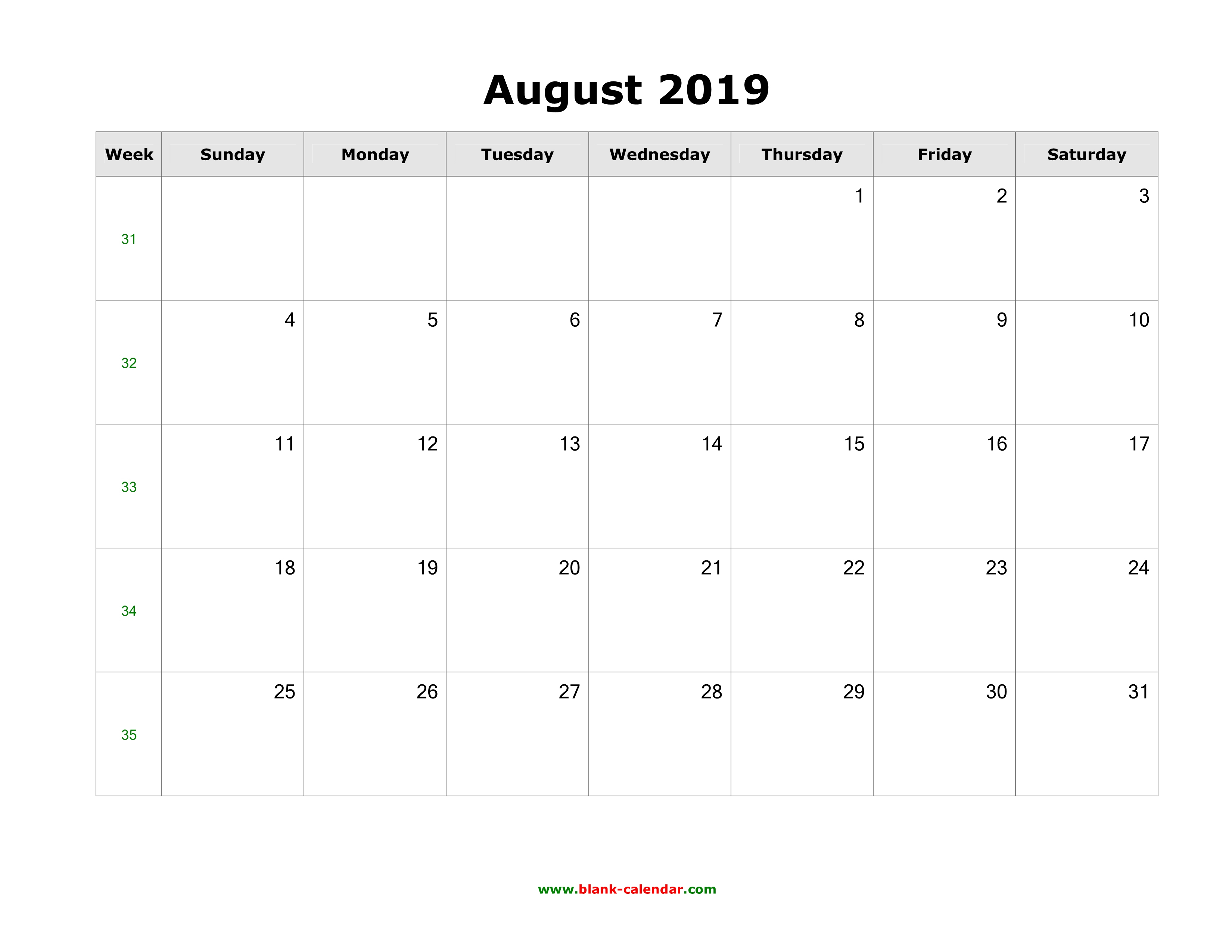 August 2019 Blank Calendar | Free Download Calendar Templates