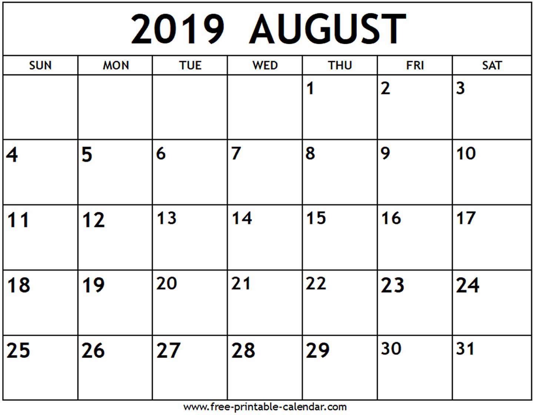 August 2019 Calendar - Free-Printable-Calendar