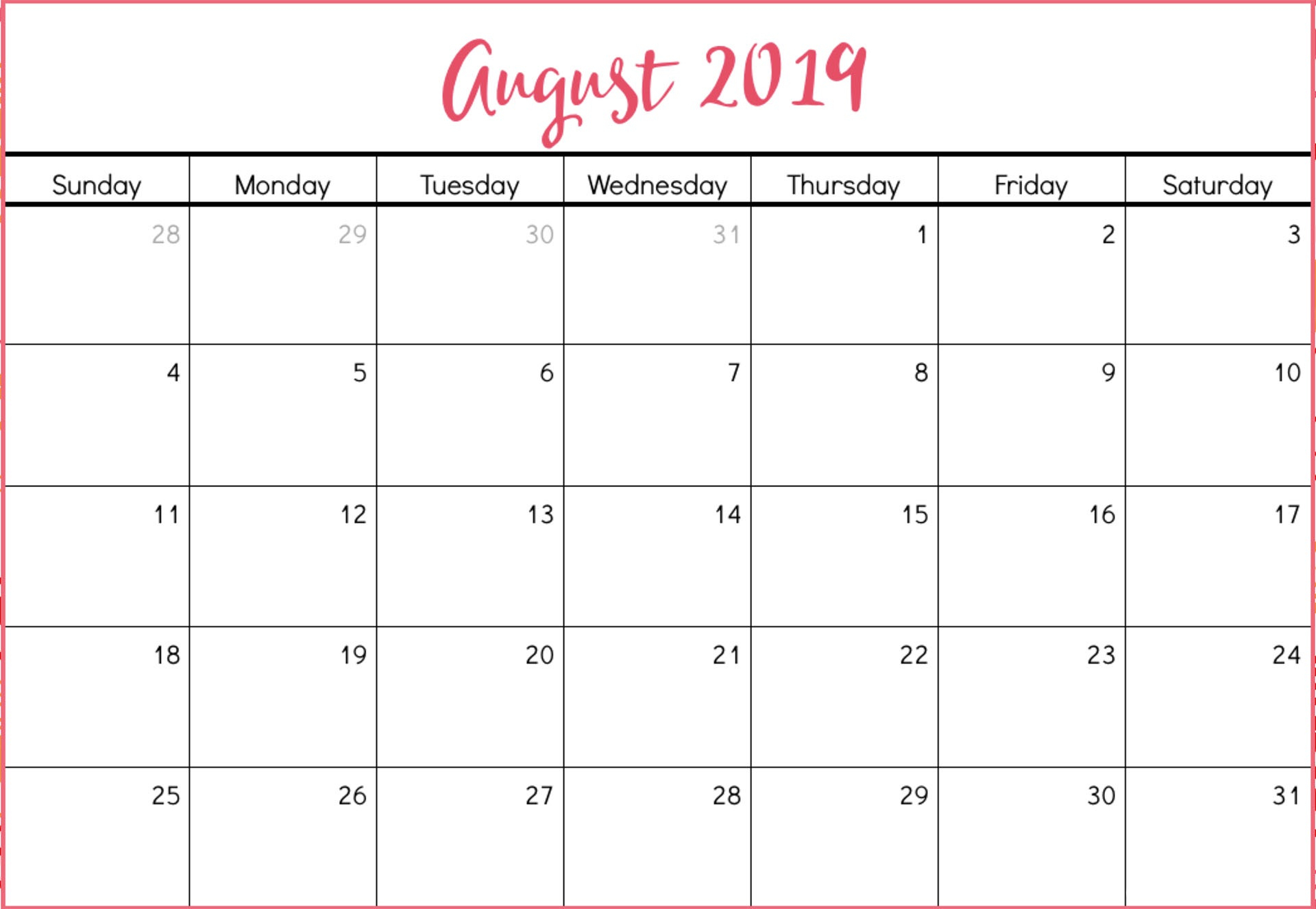 August 2019 Calendar Monthly Organizer - Free Printable