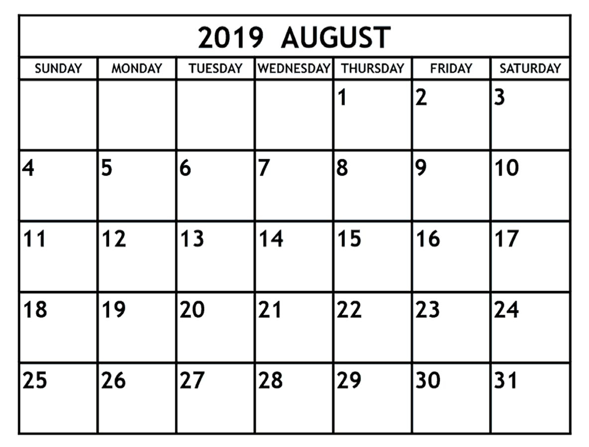 August 2019 Calendar Printable - 2019 Monthly Calendar