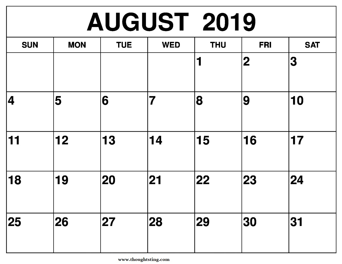 August 2019 Calendar Printable A4 Size - Free Printable