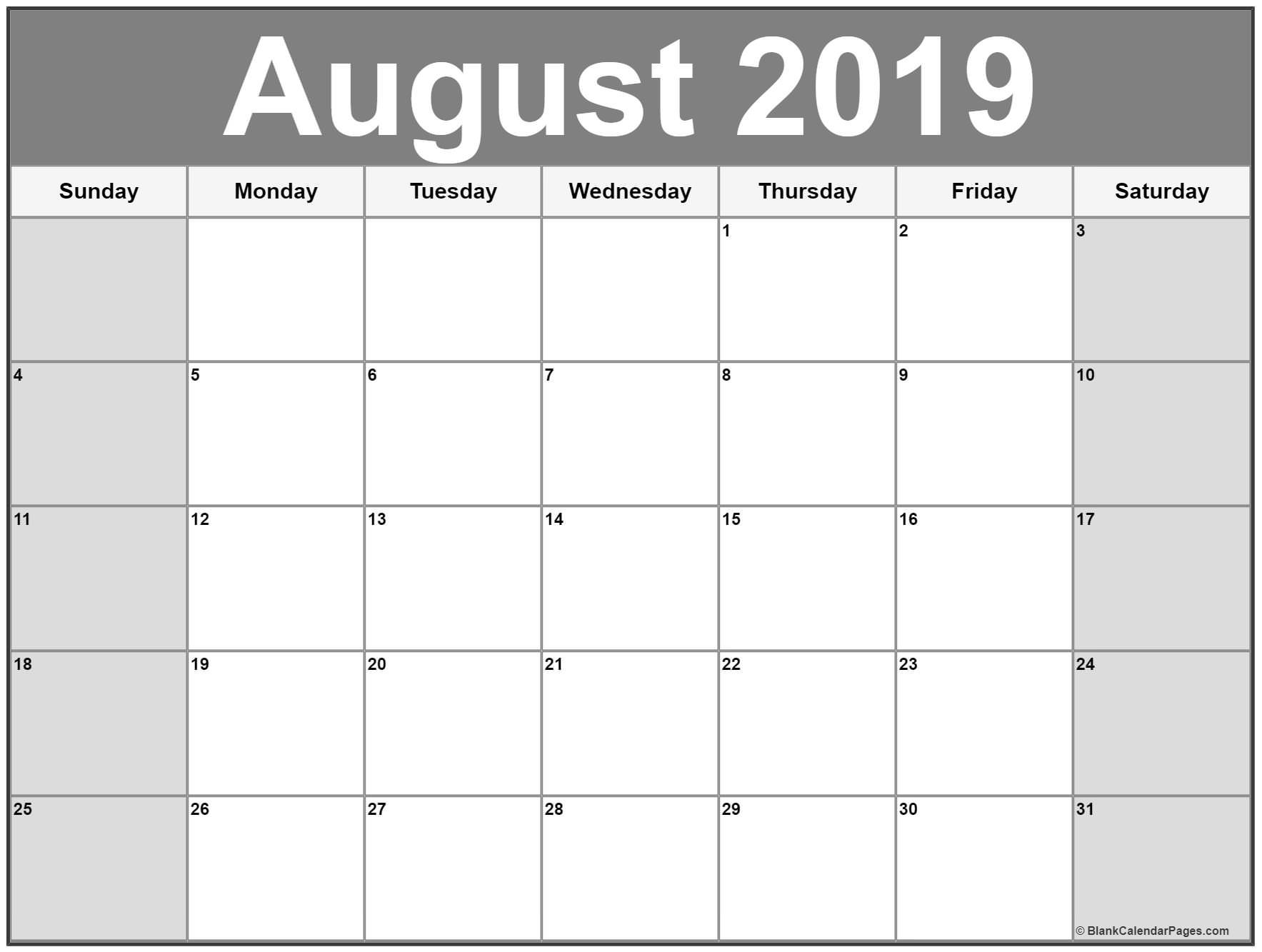 August 2019 Calendar Printable Free   Calendar Printables