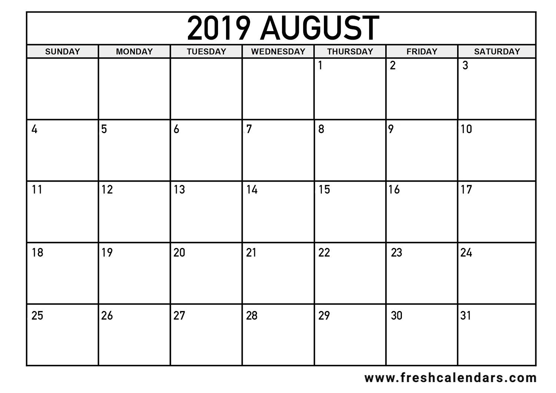 August 2019 Calendar Printable - Fresh Calendars