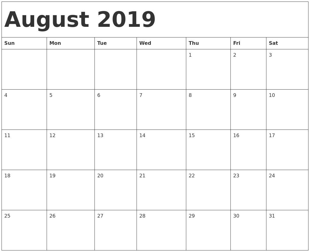 August 2019 Calendar Template Time Scheduler - Free