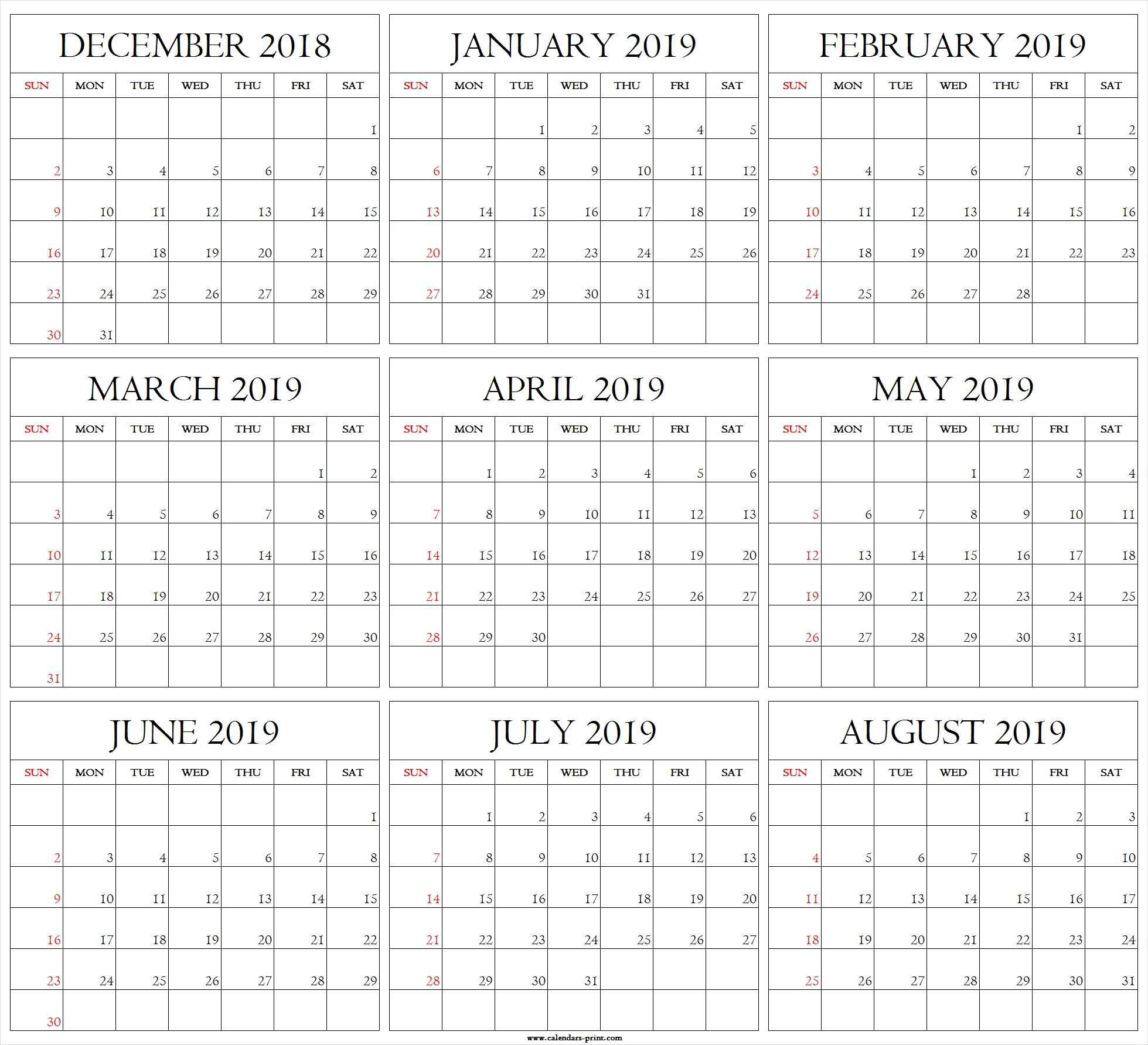 August 2019- December 2019 Calendar | Calendar Format Example