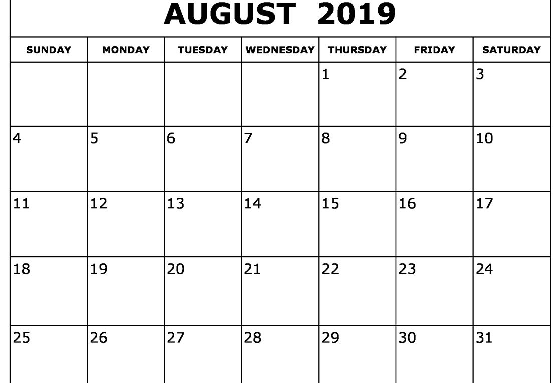 August 2019 – Free Printable Calendar & Holidays