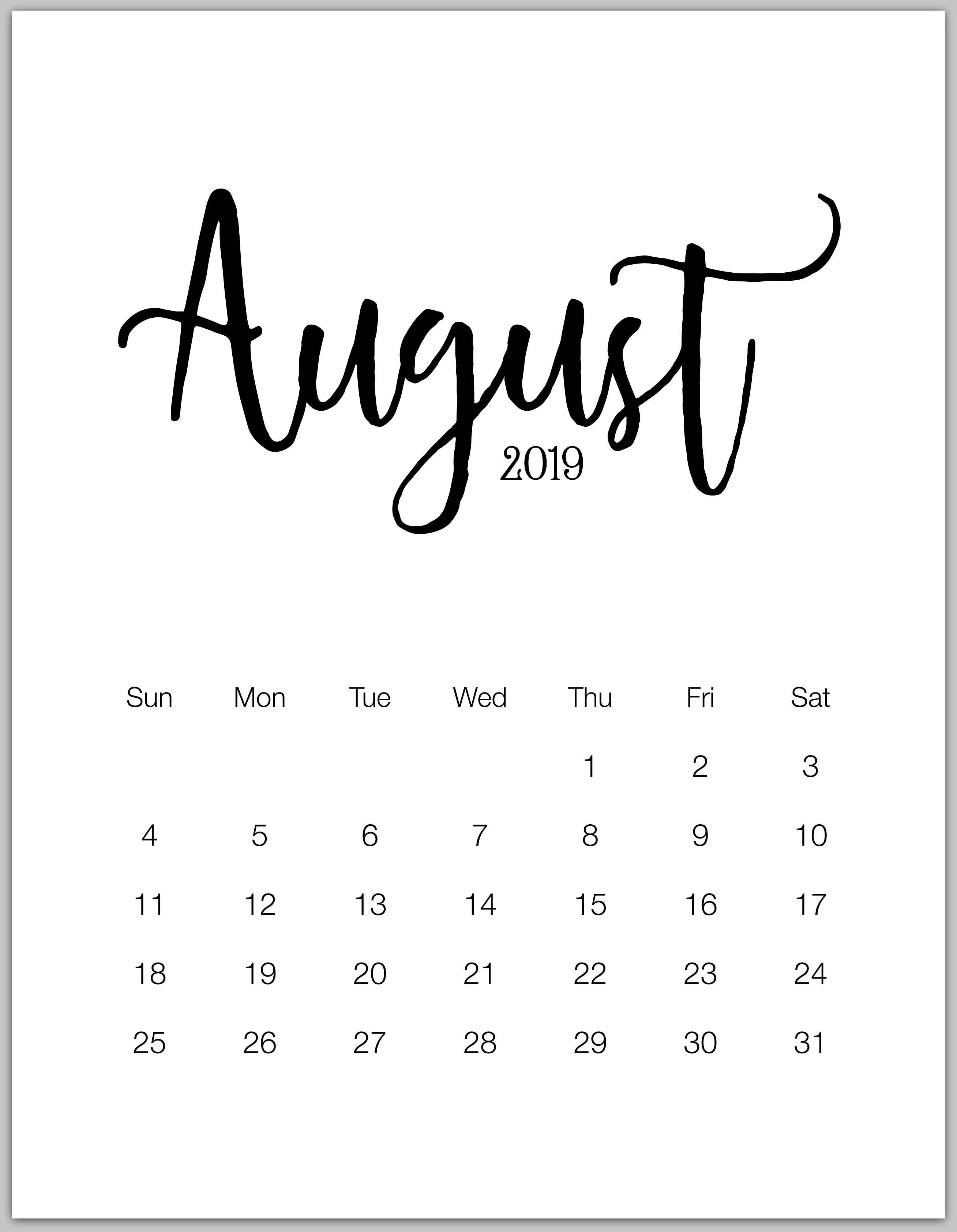 August 2019 Minimalist Calendar | Bbb | August Calendar