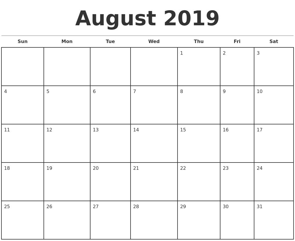 August 2019 Monthly Calendar Template