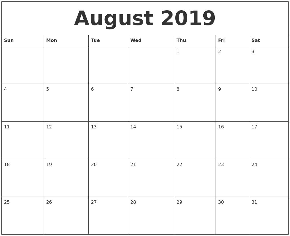 August 2019 Print Monthly Calendar