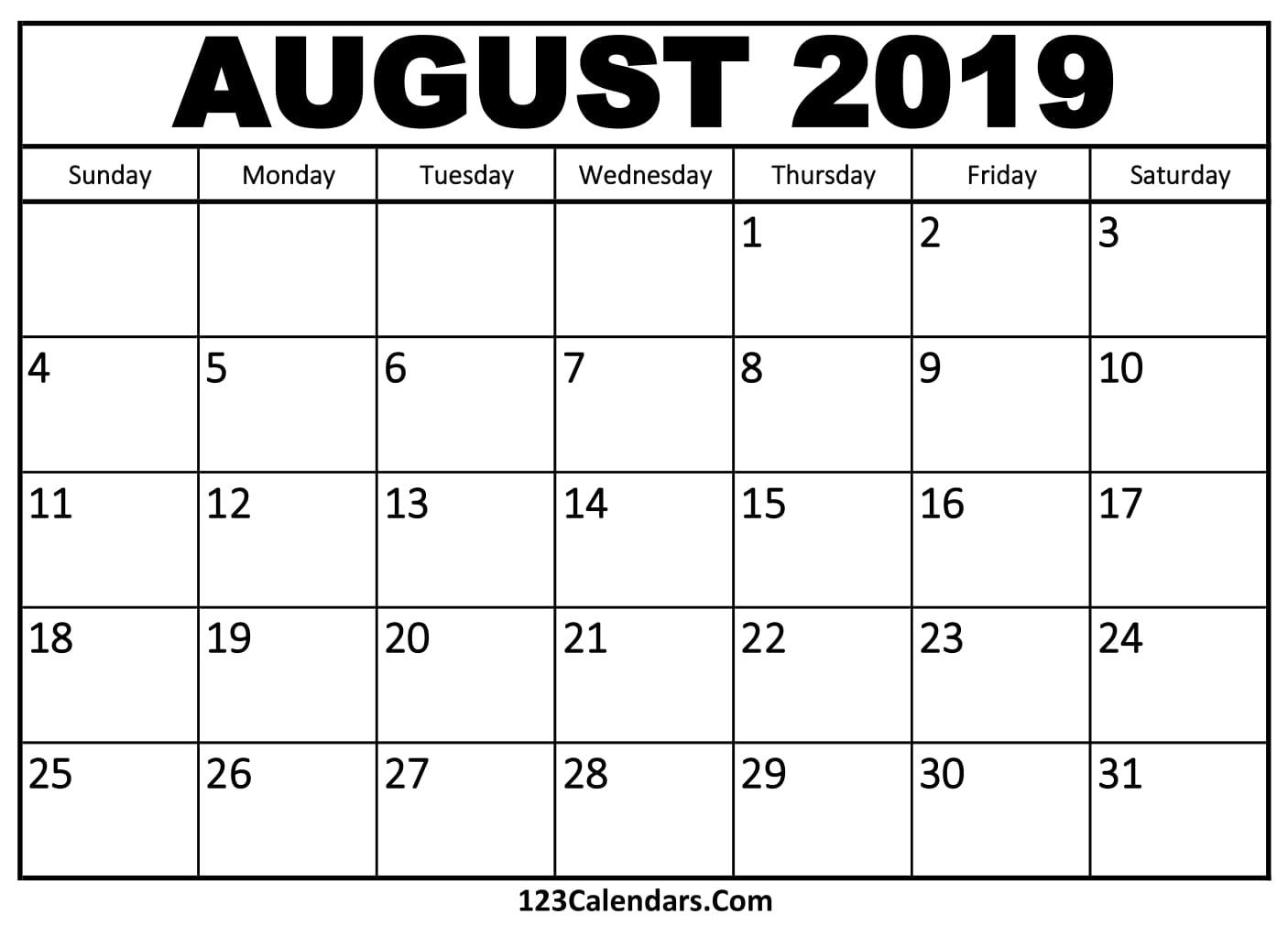 August 2019 Printable Calendar | 123Calendars