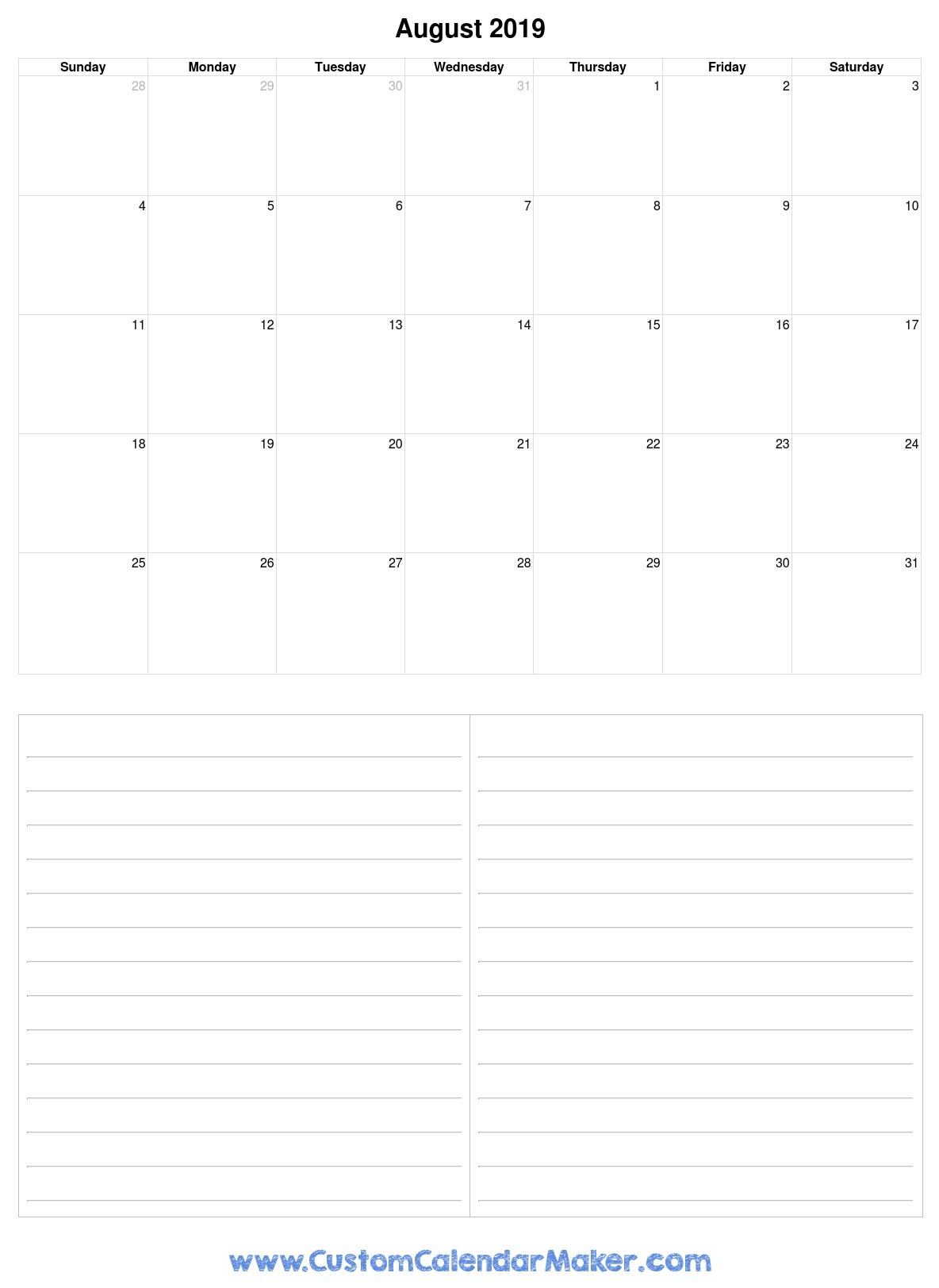 August 2019 Printable Calendars - Blank Pdf Templates