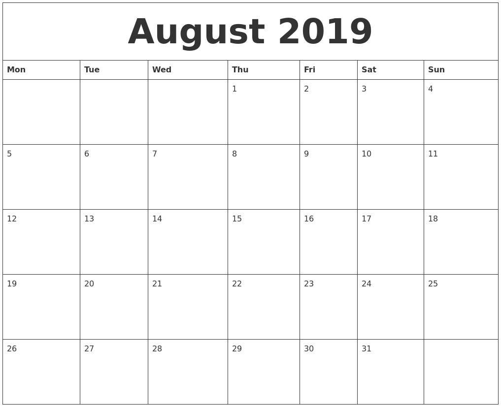 August 2019 Printable December Calendar