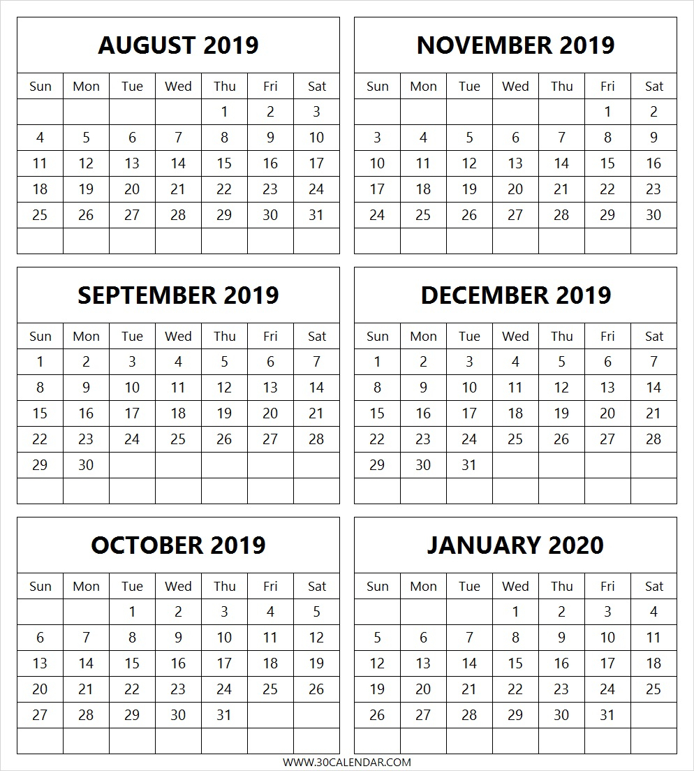 August 2019 To January 2020 Calendar Printable   6 Month