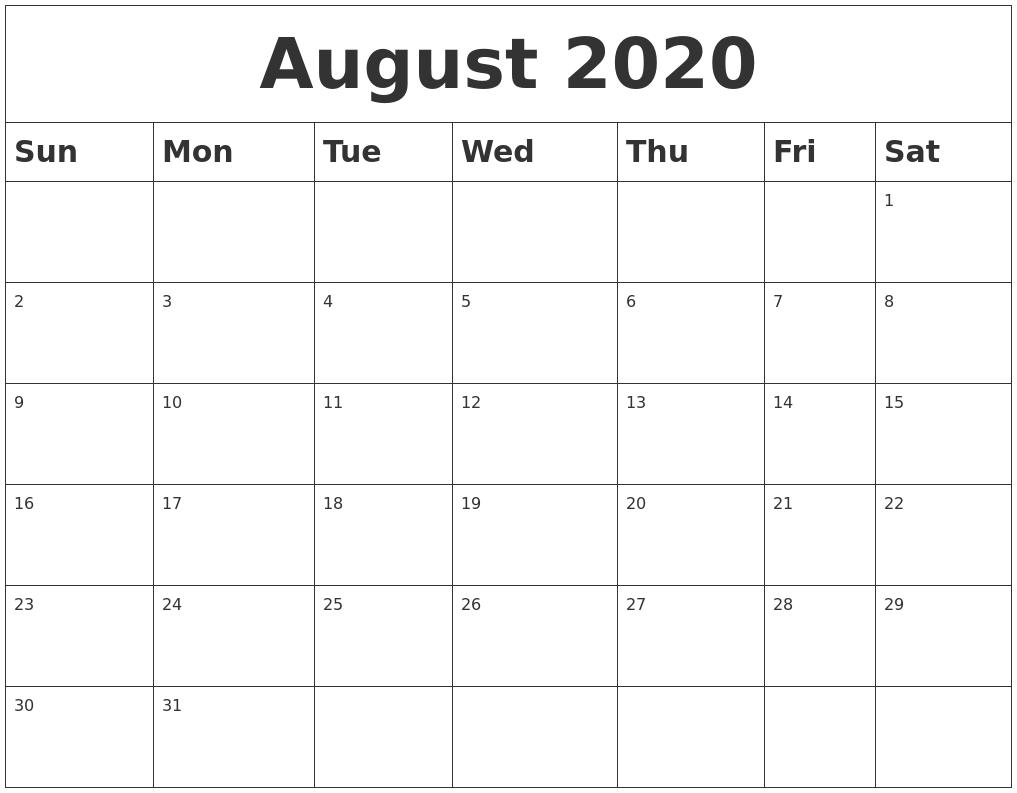 August 2020 Blank Calendar