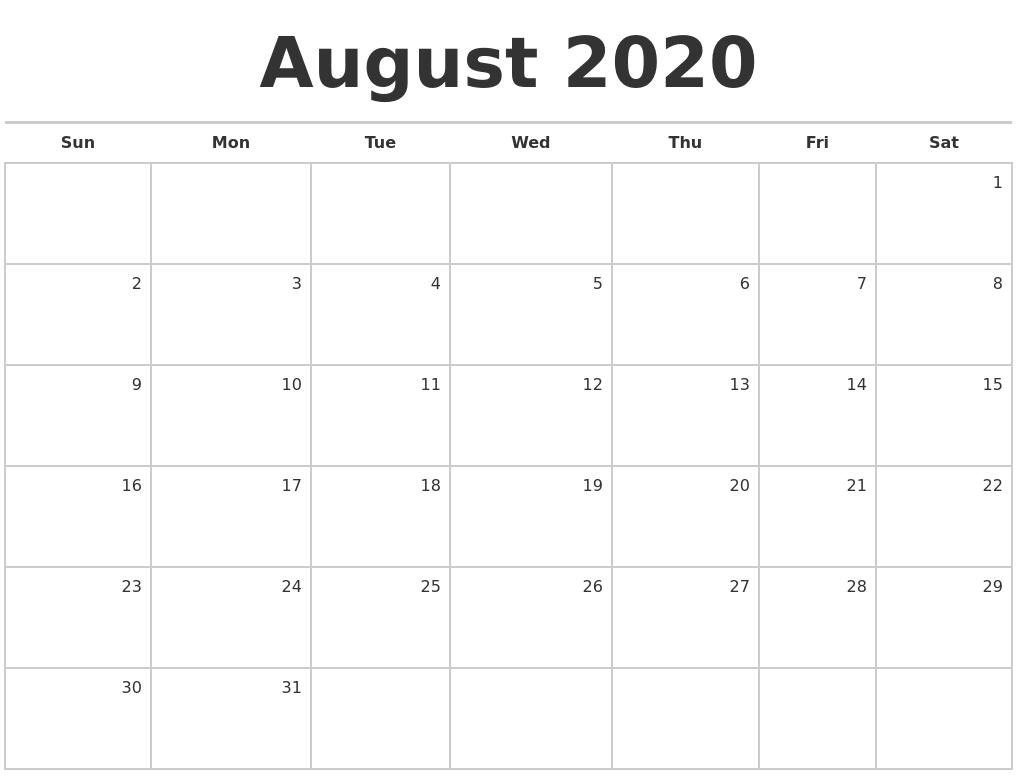 August 2020 Blank Monthly Calendar