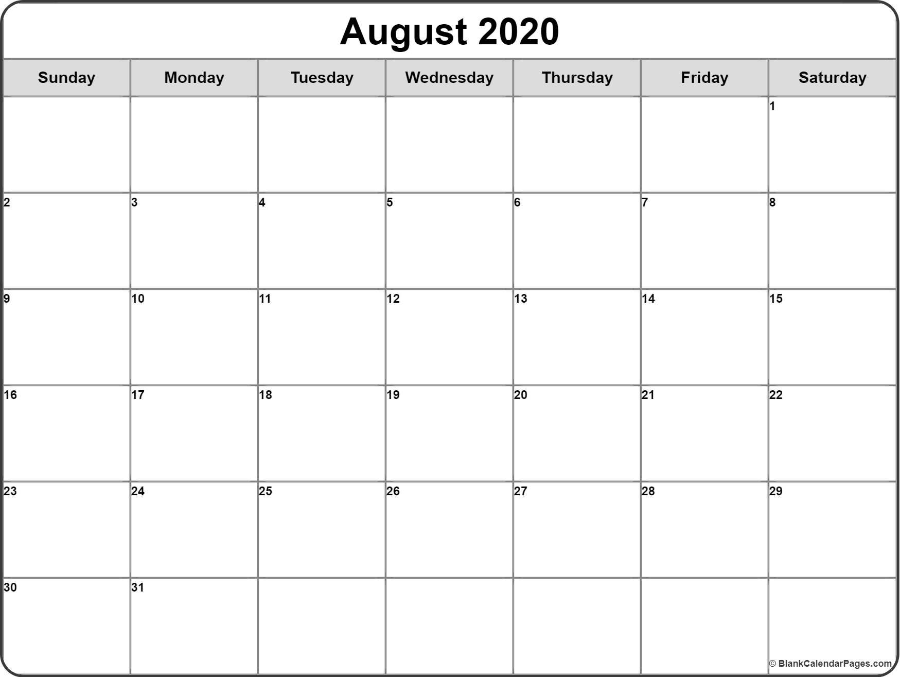 August 2020 Calendar   Free Printable Monthly Calendars