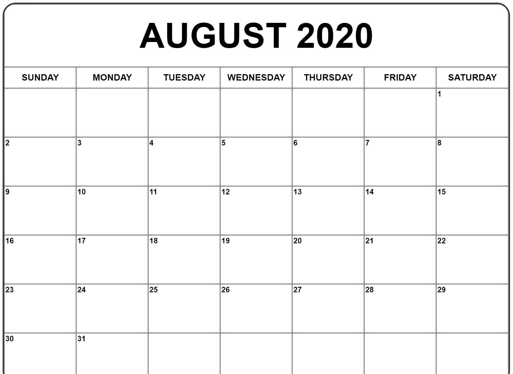 August 2020 Calendar Pdf, Word, Excel Printable Template
