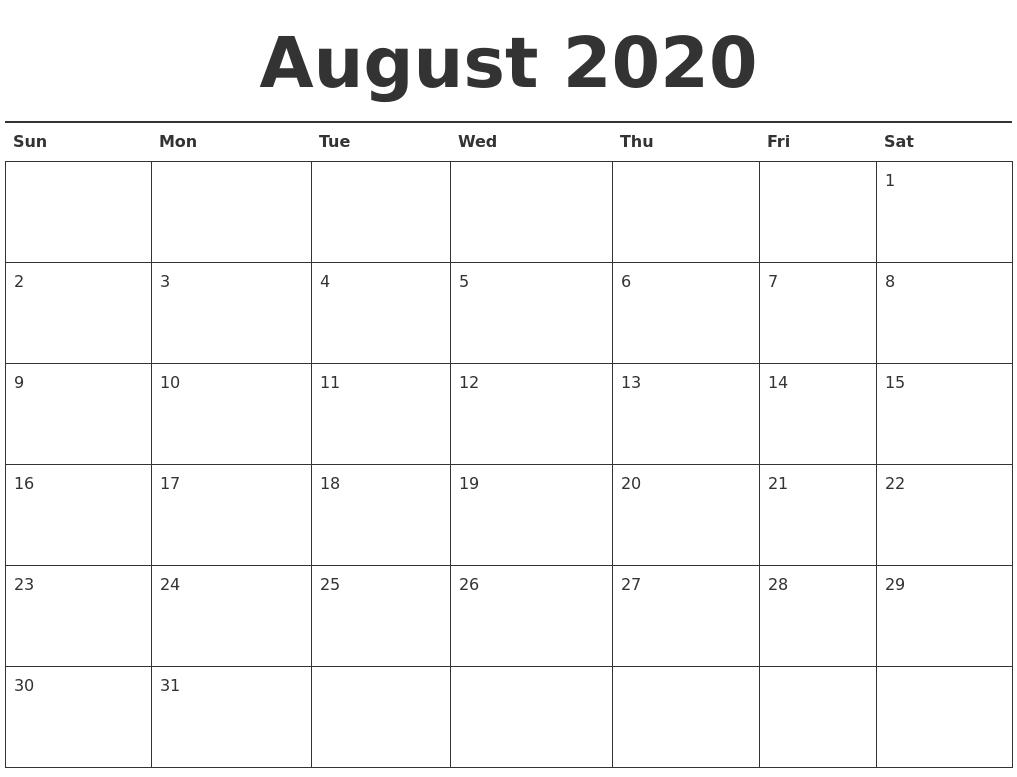 August 2020 Calendar Printable