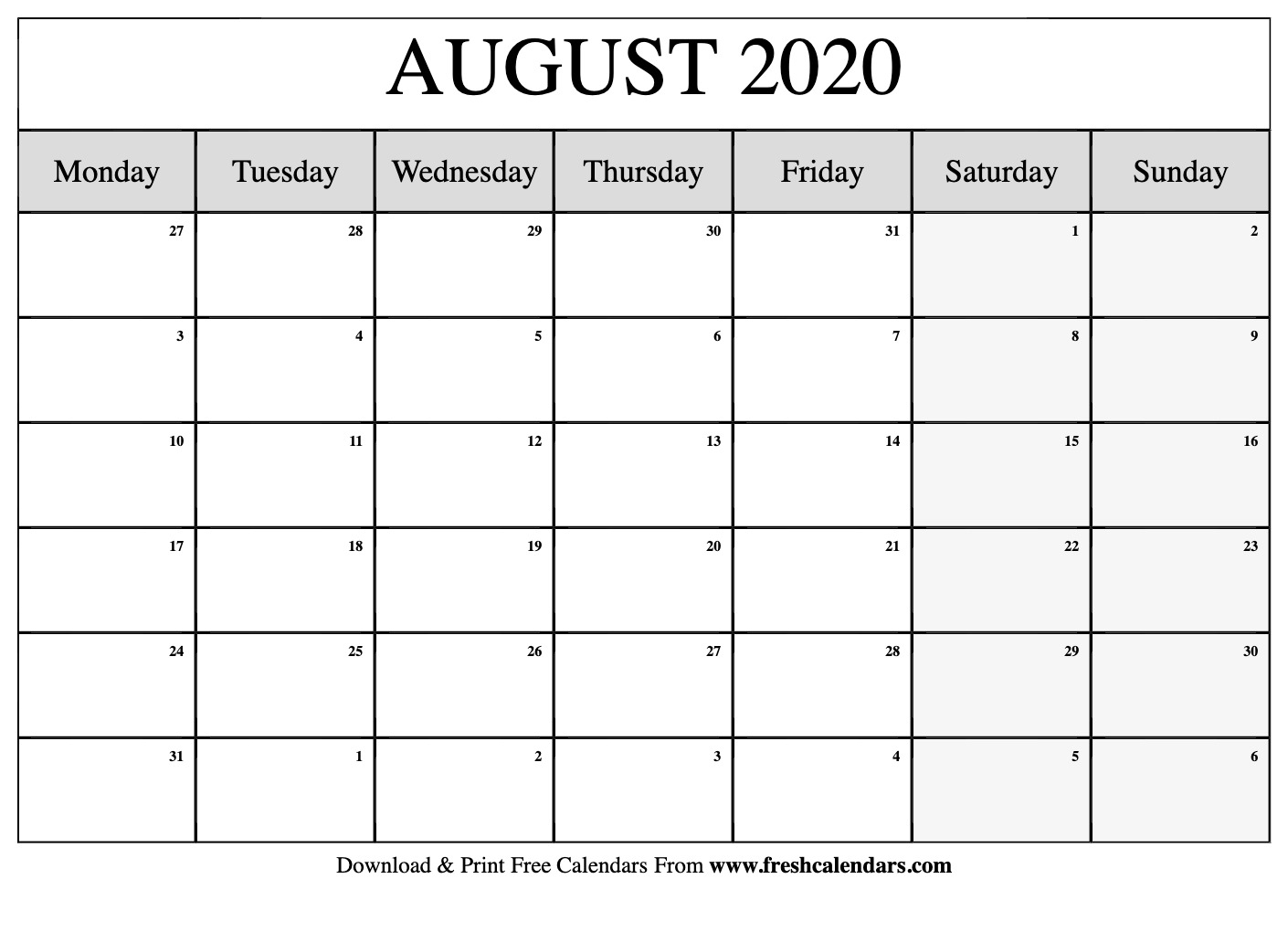August 2020 Calendar Printable - Fresh Calendars