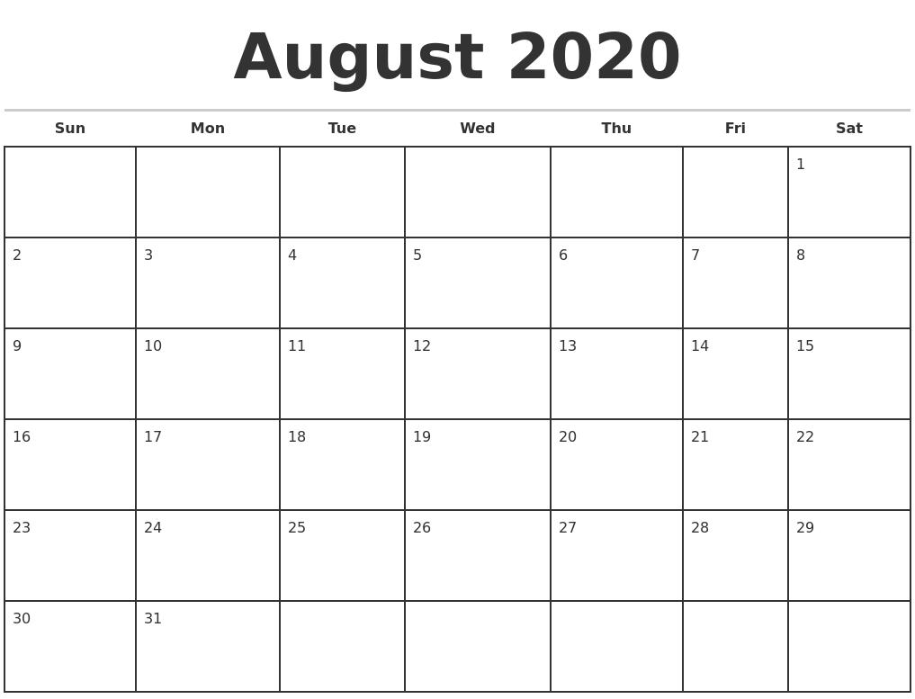 August 2020 Monthly Calendar Template