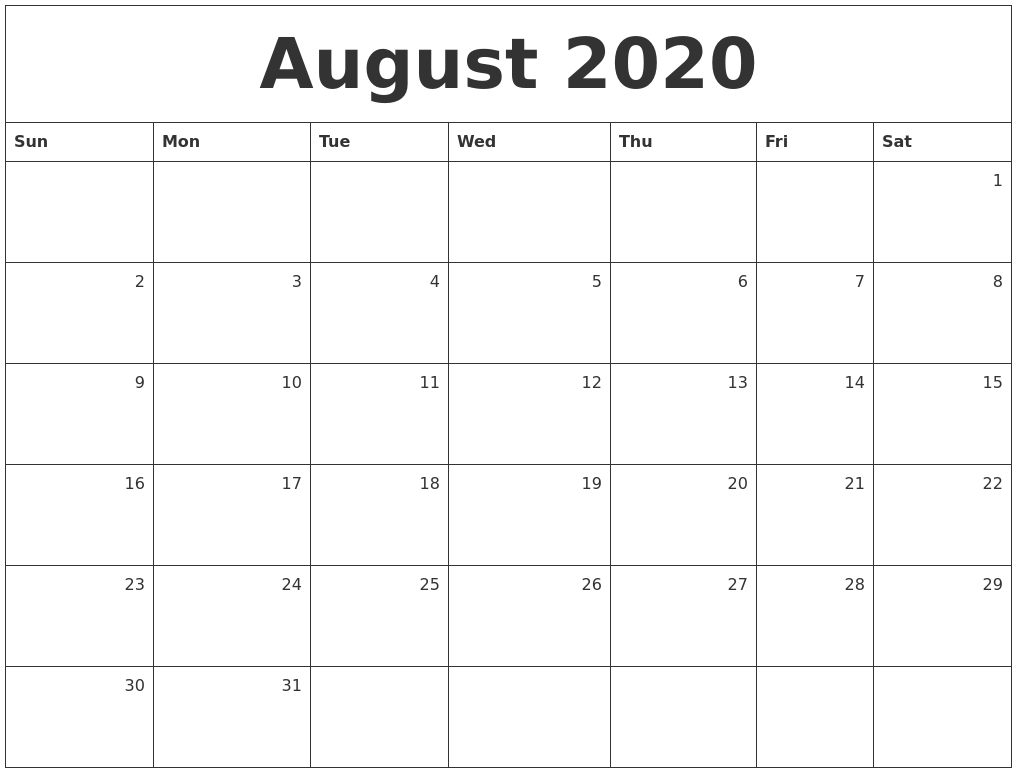 August 2020 Monthly Calendar