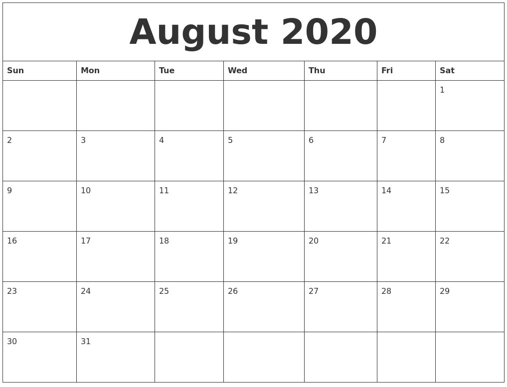 August 2020 Monthly Printable Calendar