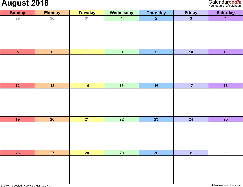 August Calendar 2018 Landscape