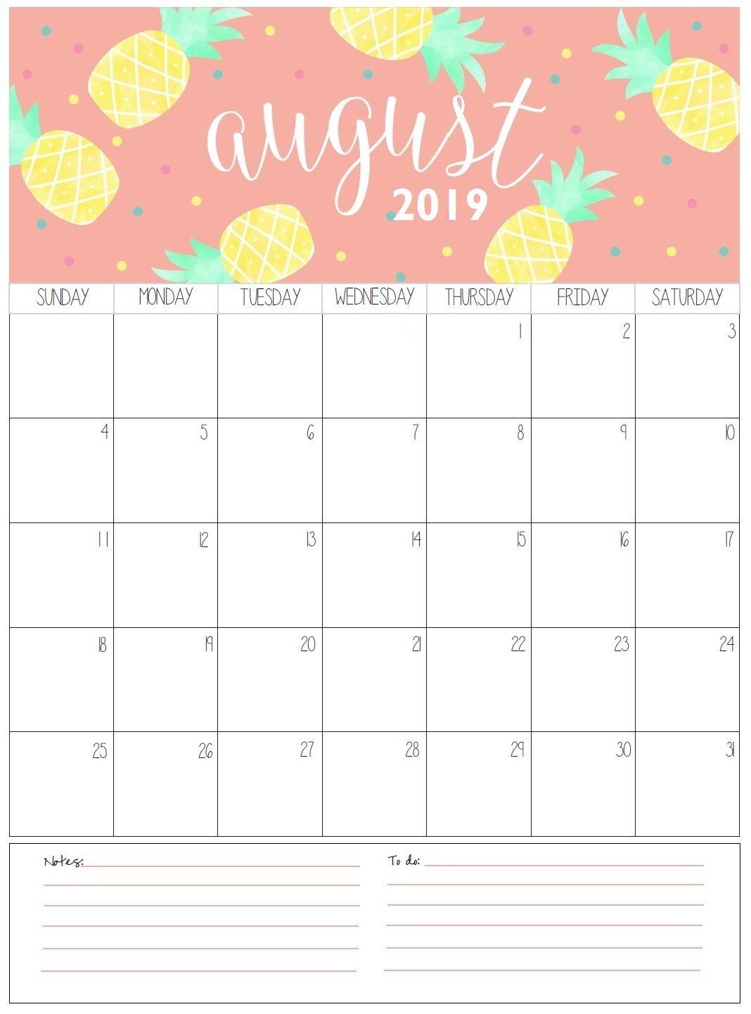 August Monthly Calendar 2019   Organization   August