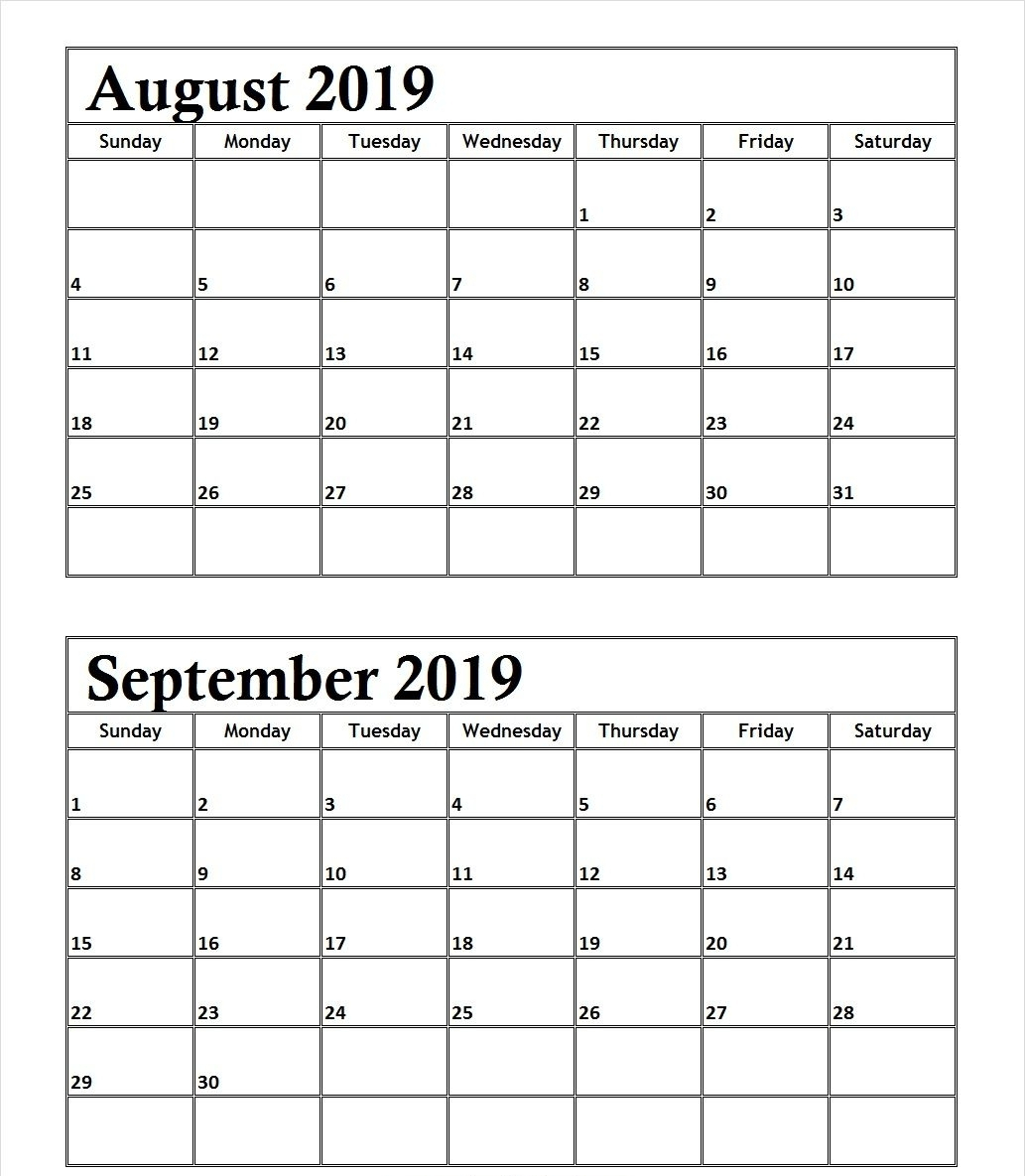 August September 2019 Calendar Printable Template
